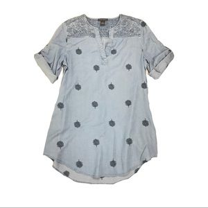 Chelsea & Theodore Tencel Embroidered Chambray Top